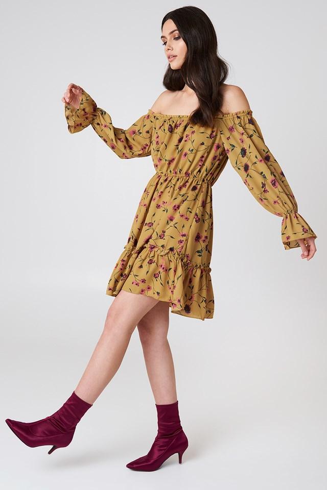 Off Shoulder Mini Dress Mustard Floral