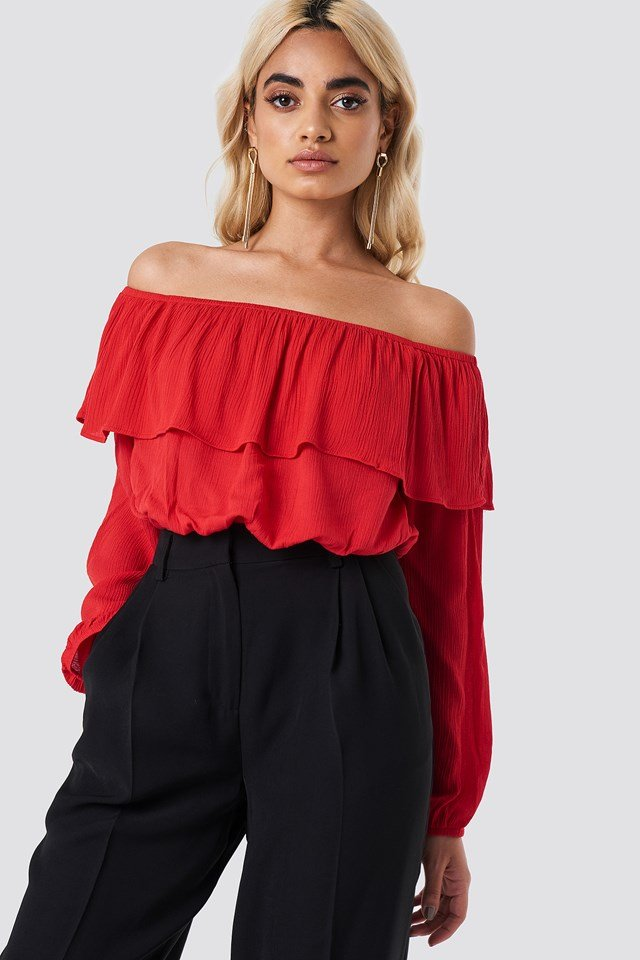 Off Shoulder Ruffle Blouse Red