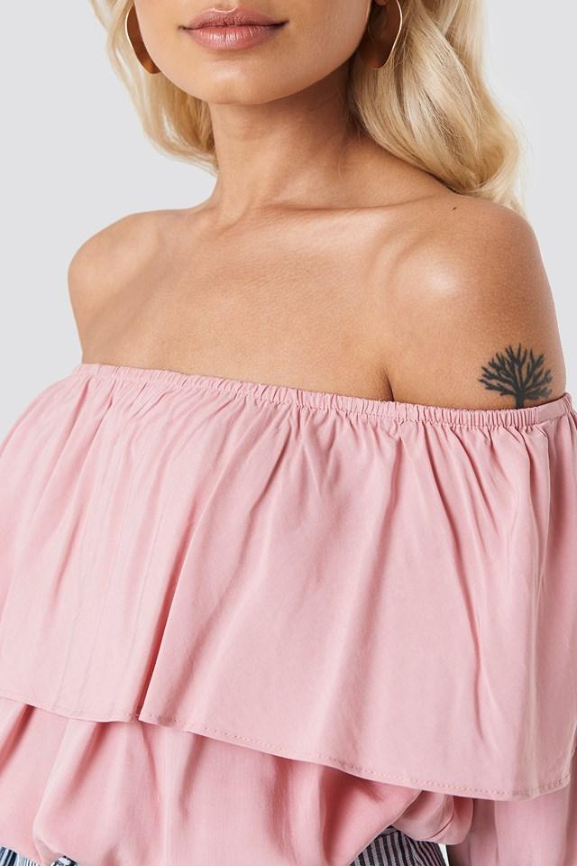 Off Shoulder Ruffle Blouse Pink