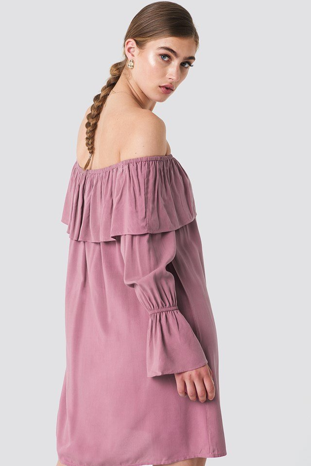 Off Shoulder Ruffle Dress Dark Pink