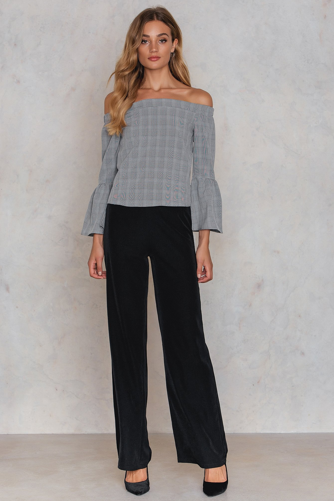 Grey Check Off Shoulder Smock Top