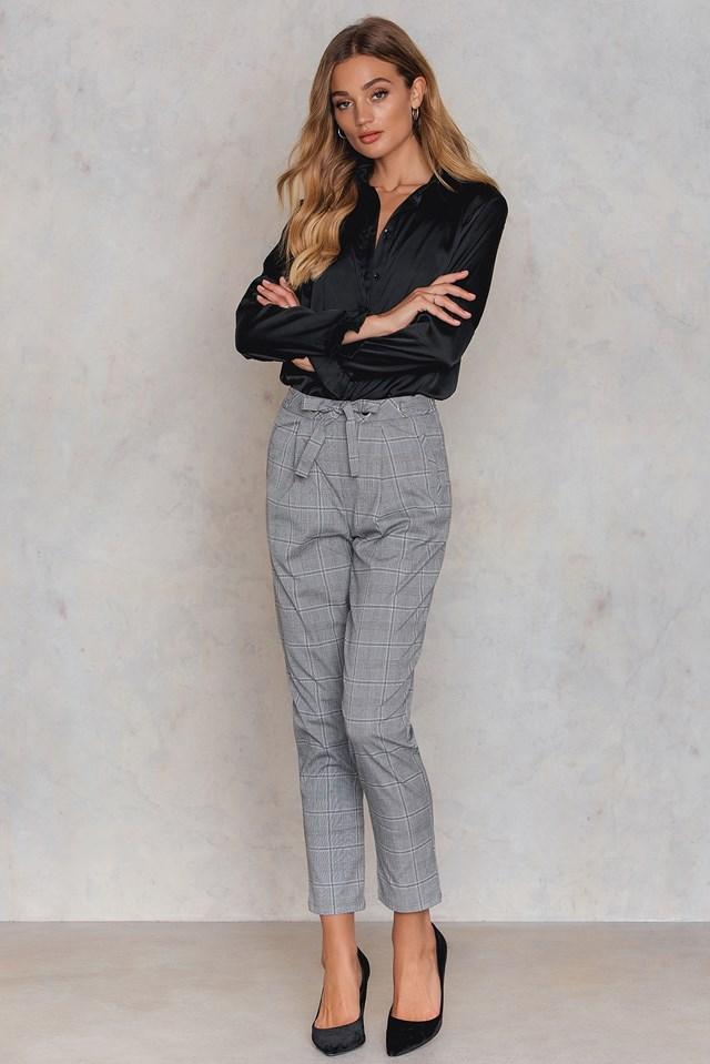 Spodnie oversize do kostek Grey Check