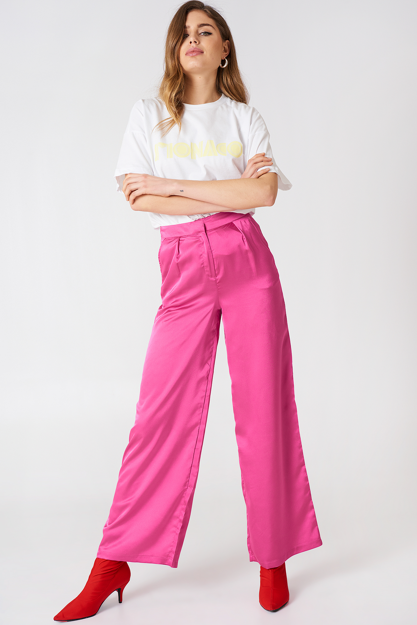 Oversized Satin Trousers NA-KD.COM