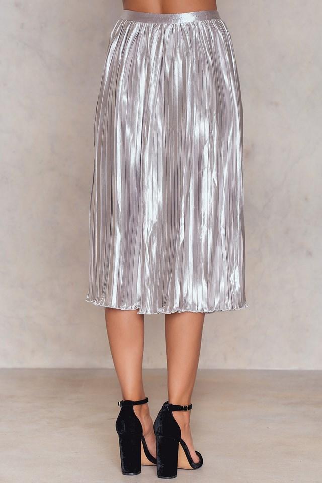 Pleated Midi Skirt Light Silver