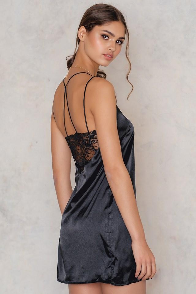 Racer Back Satin Cami Dress Black