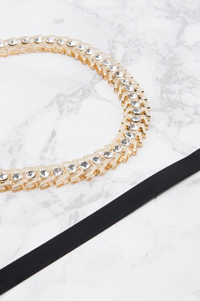 Ribbon and Gold Chain Choker Necklace Black/Gold