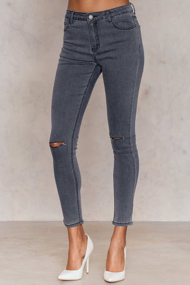 Ripped Knee Skinny Jeans Grey Wash