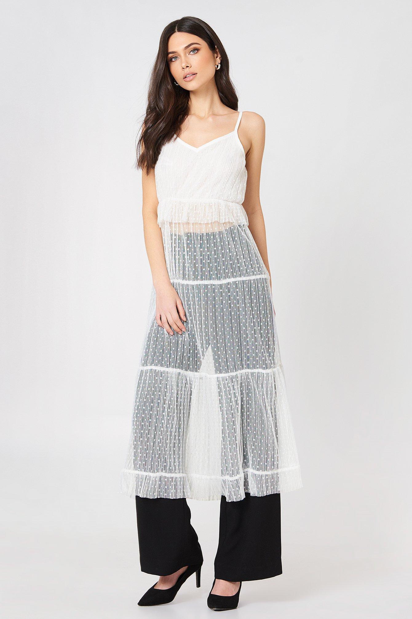 glamorous -  Ruffle Detail Strap Dress - White