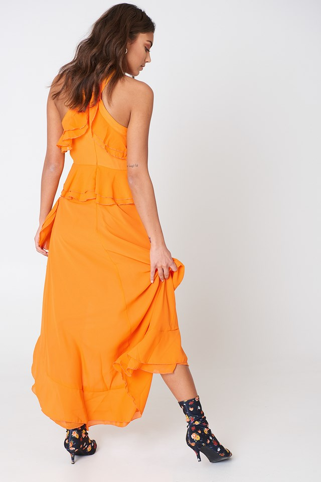 Ruffle Halterneck Dress Orange