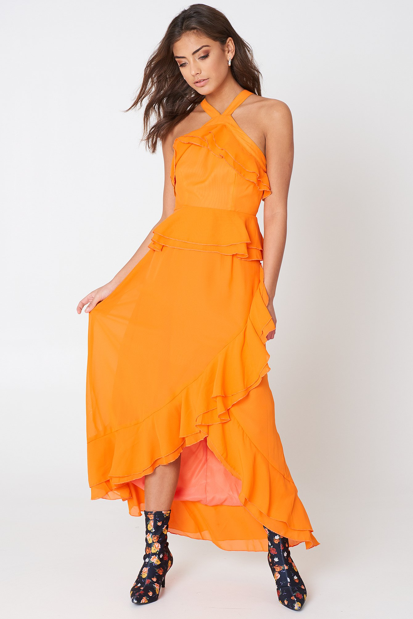 Ruffle Halterneck Dress NA-KD.COM
