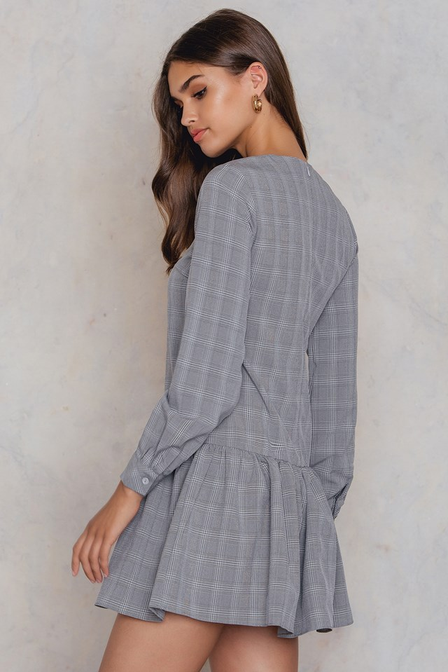 Ruffle Long Sleeve Dress Grey Check