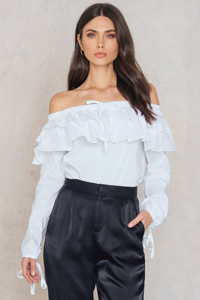 Ruffle Off Shoulder Top White