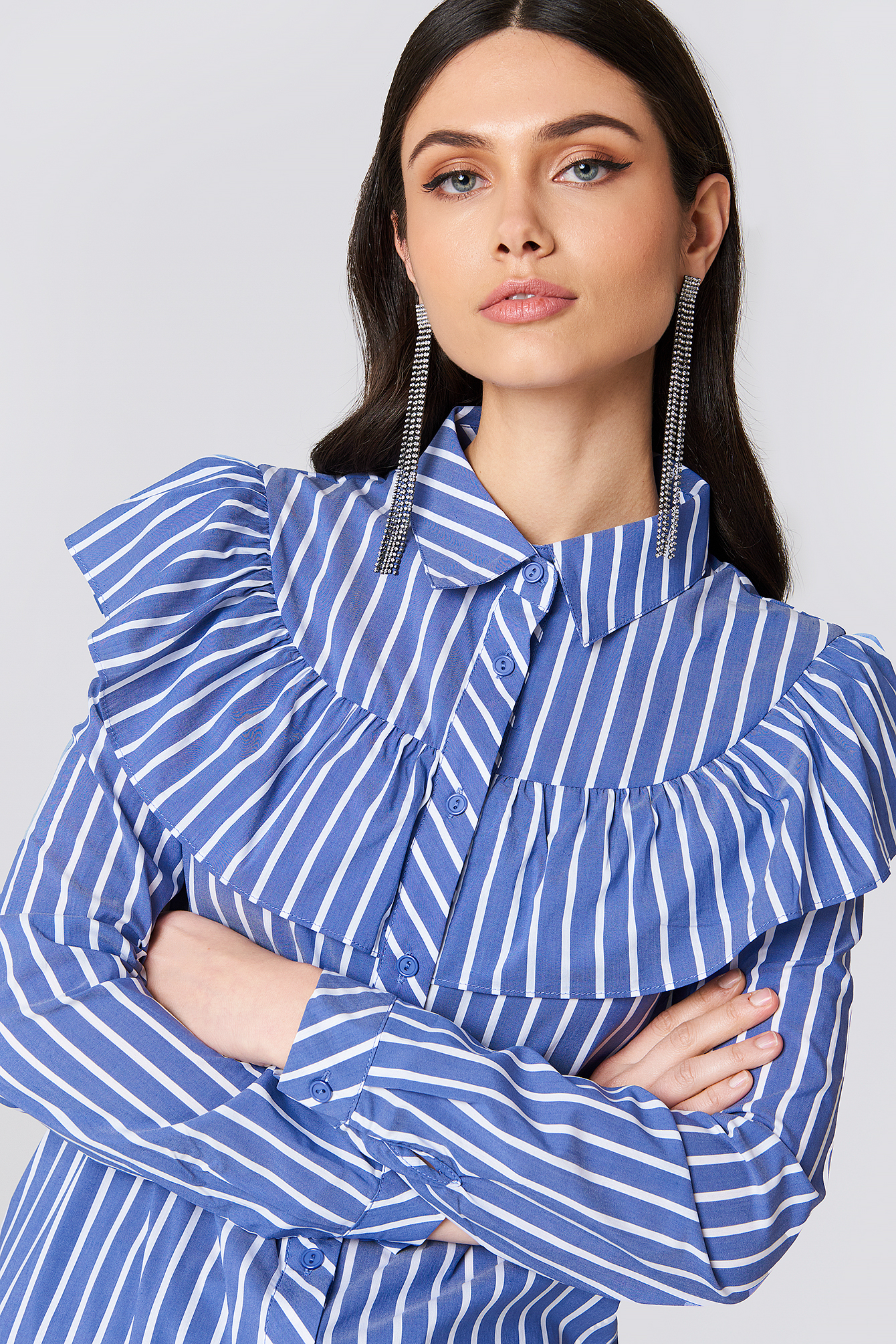 Ruffle Shoulder Shirt NA-KD.COM