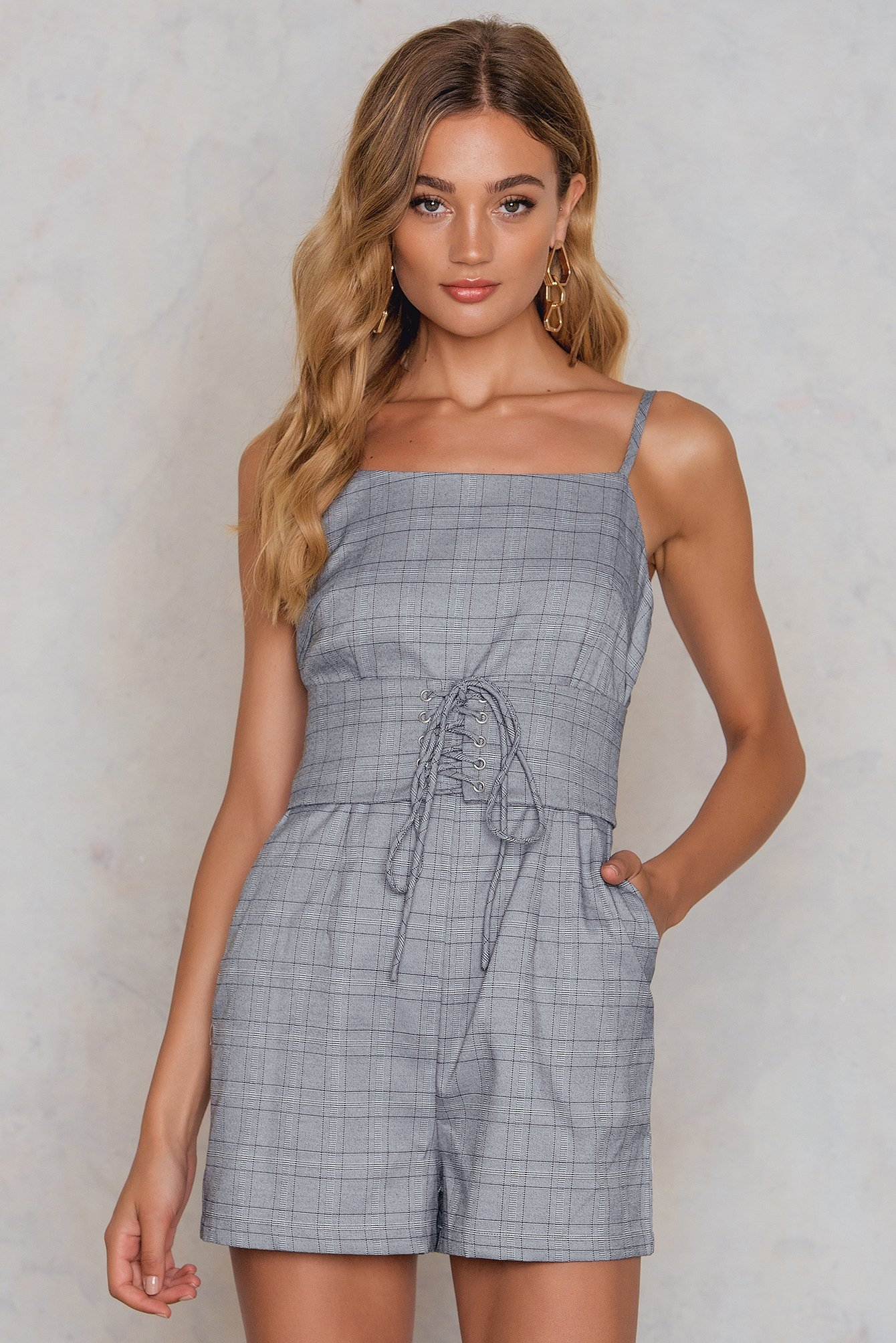 Grey Check Corset Front Playsuit