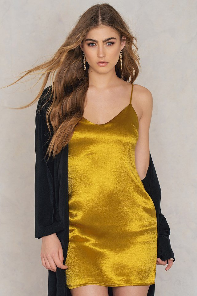 Satin Cami Dress Acid Yellow