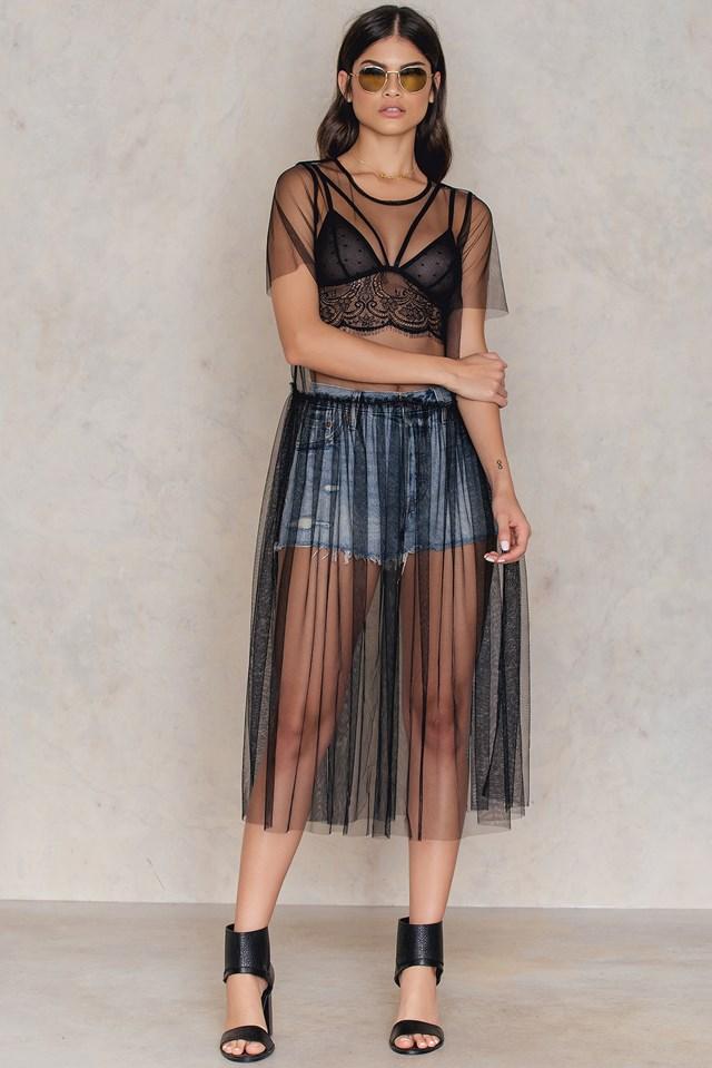Sheer Mesh Dress Black Dot