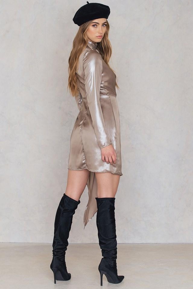 Shimmer Frill Dress Light Gold