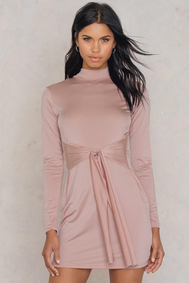 Shimmer Long Sleeve Dress Pink