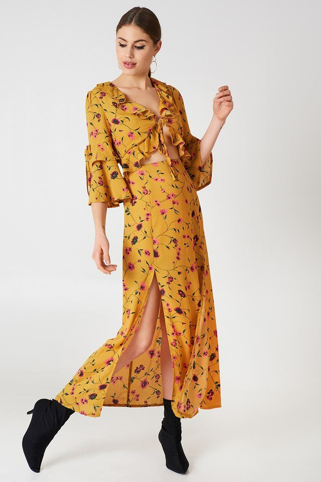 Short Sleeve Midi Dress Mustard Floral