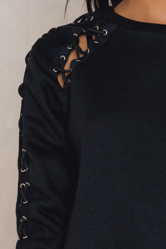 Sleeve Detail Sweatshirt Black