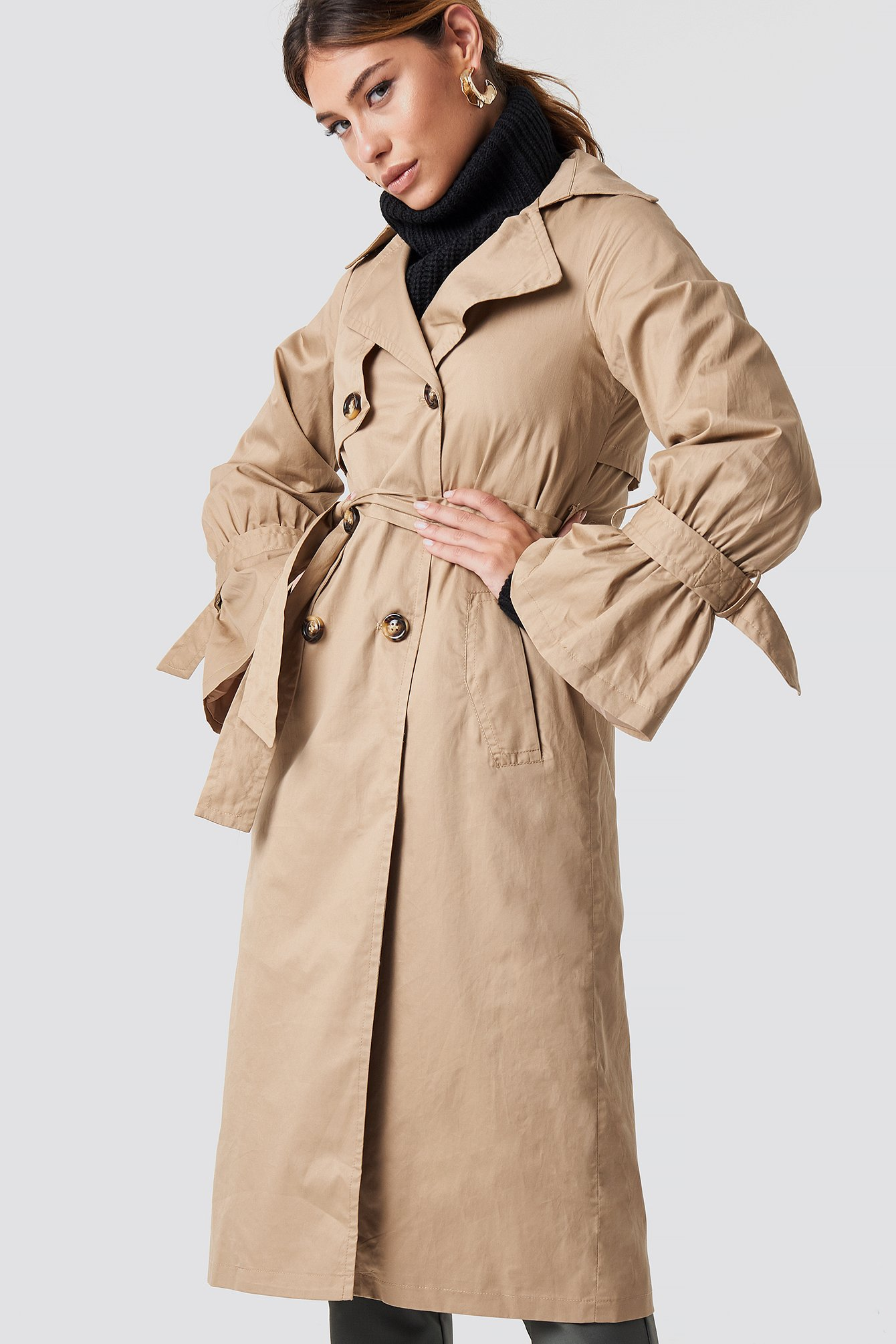 glamorous -  Stone Trench Coat - Beige
