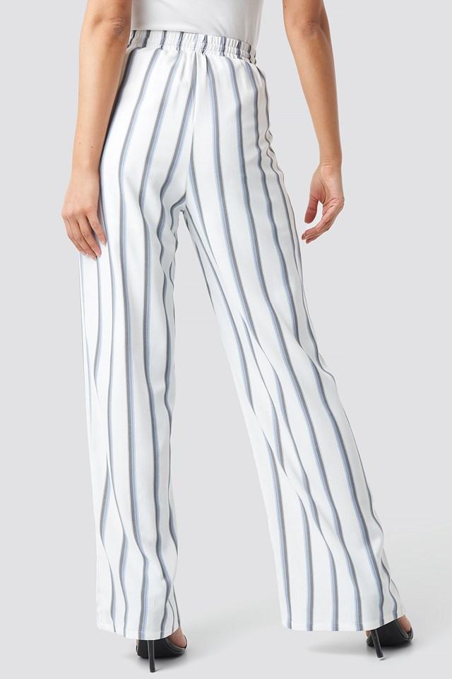Striped Wide Pants White Blue Stripes