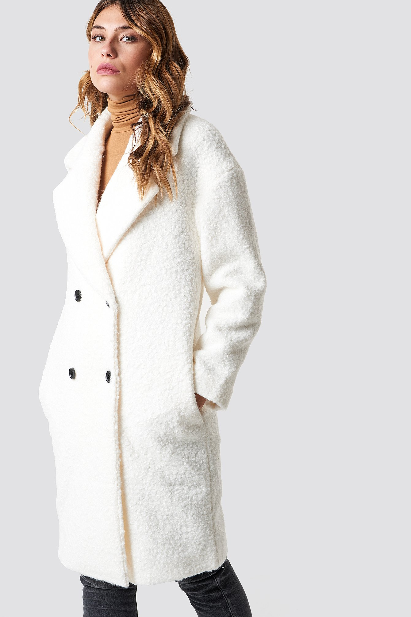 glamorous -  Teddy Fur Coat - White