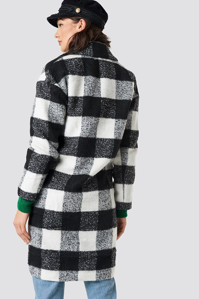 Teddy Fur Coat Black/White Check