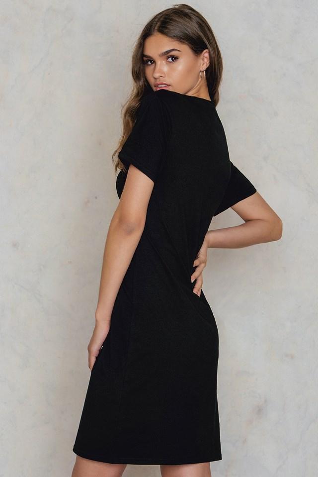 Tie Front Tee Dress Black