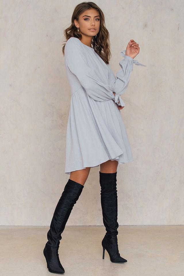 Tie Sleeve Dress Light Grey
