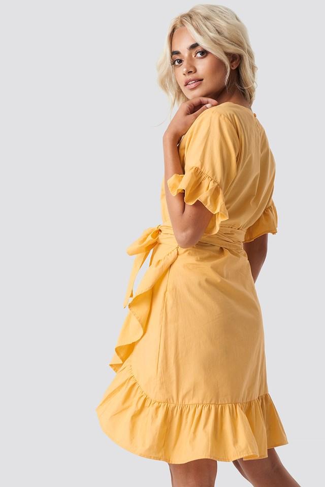 Tie Waist Frill Mini Dress Yellow