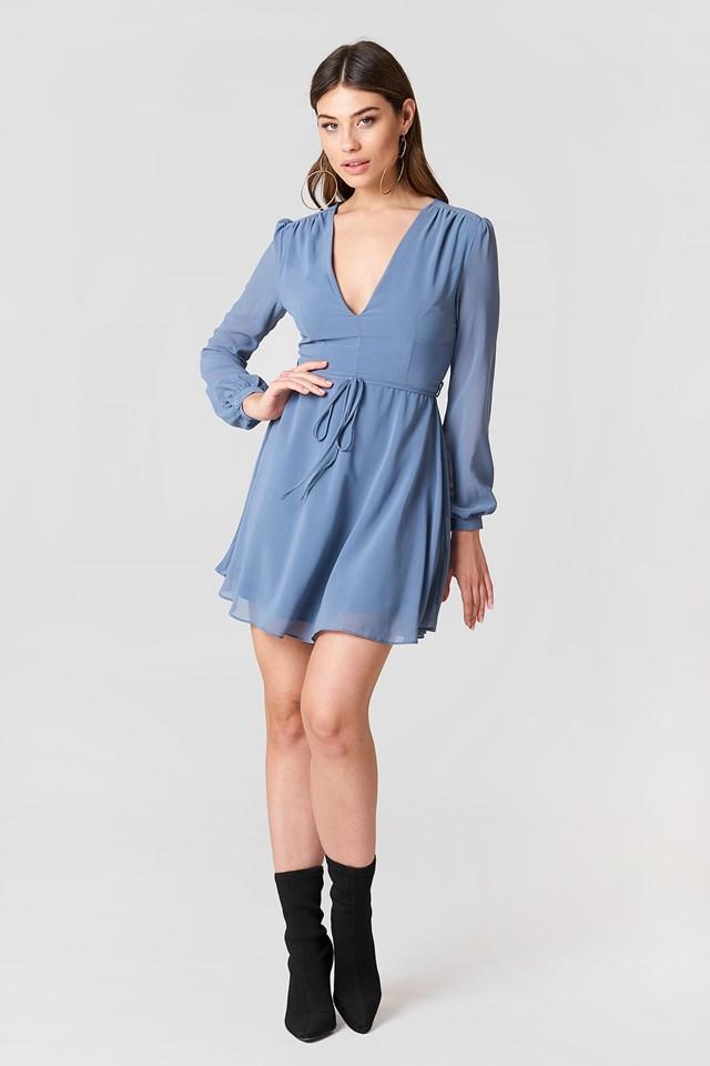 Tie Waist Print Dress Dusty Blue
