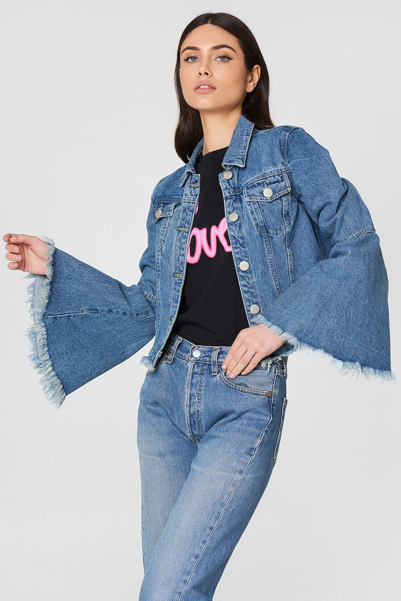 Trumpet Sleeve Denim Jacket NA-KD.COM