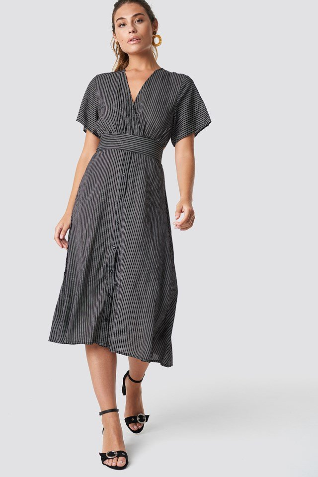 V-Neck Midi Dress NA-KD.COM