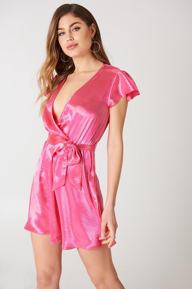 V Front Mini Dress Hot Pink