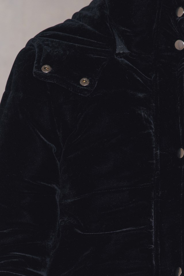 Velvet Front Pocket Jacket Black