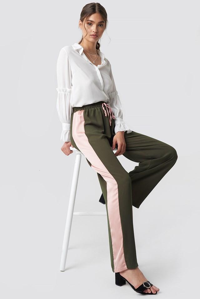 Wide Striped Pants Khaki Light Pink