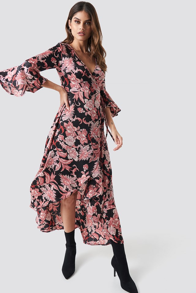 Wrap Maxi Print Dress Black Pink