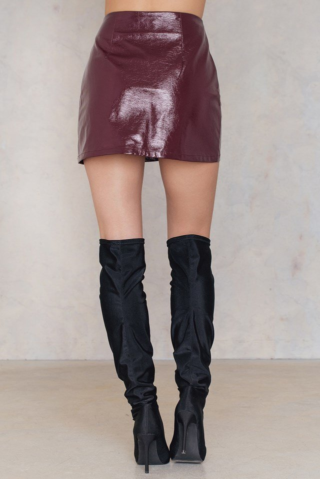 Zip Mini Skirt Burgundy