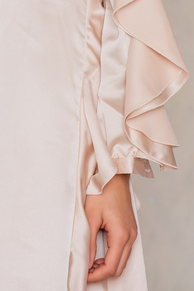 Long Sleeved Ruffle Dress Nude Satin