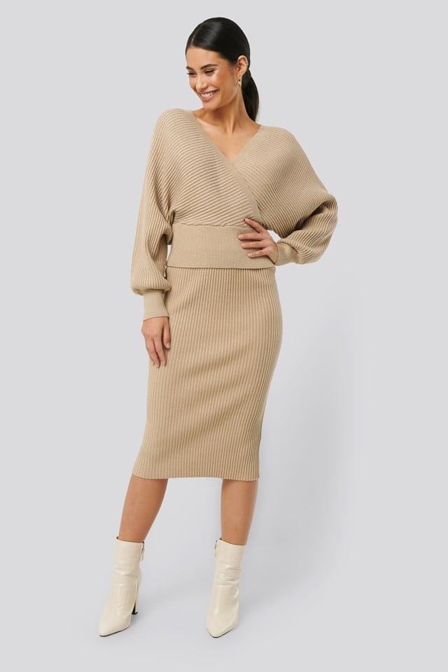 Glittery Ribbed Knitted Skirt Beige