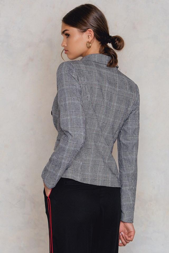 Check Double Button Blazer Grey Check
