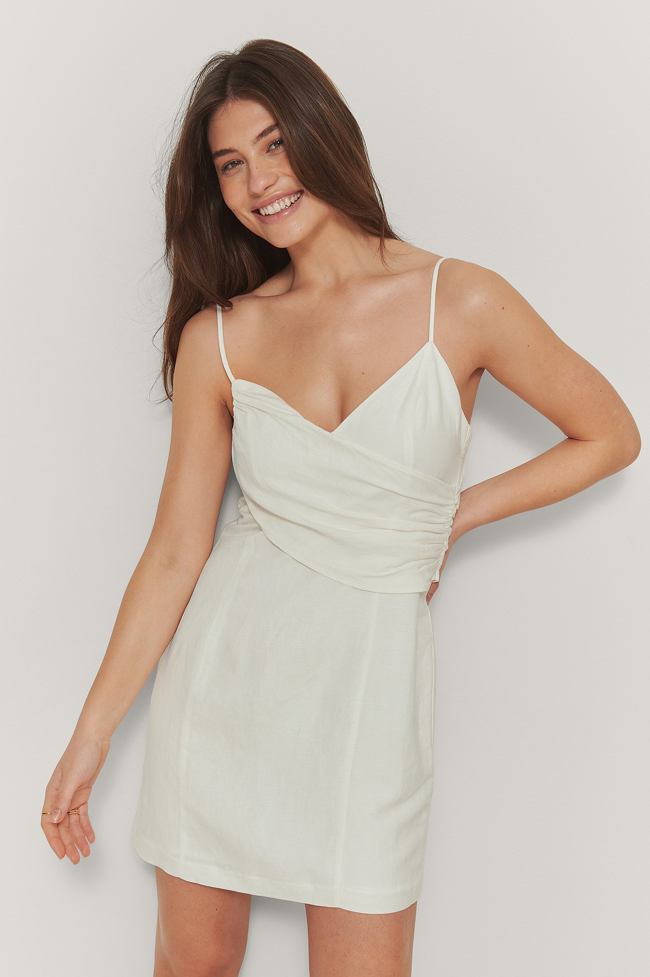 White Draped Linen Blend Mini Dress