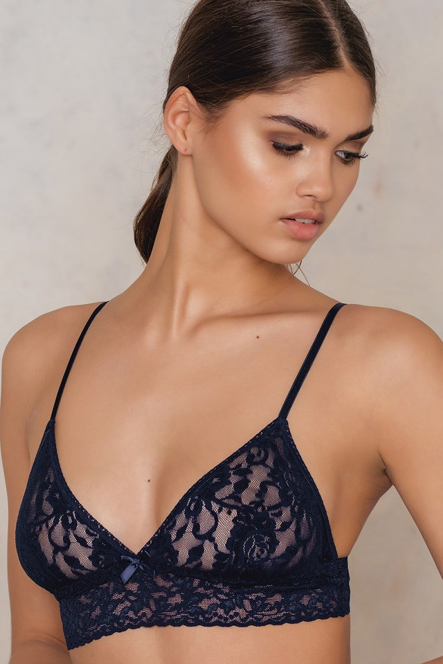 Signature Lace Triangle Bralette Navy