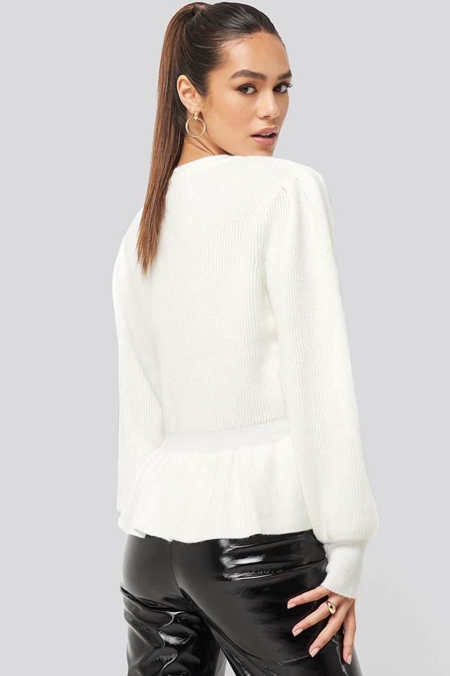 Balloon Sleeve Frilled Sweater Off White