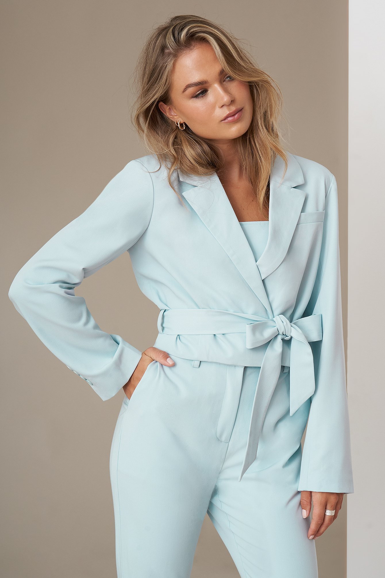 Light Blue Cropped Blazer