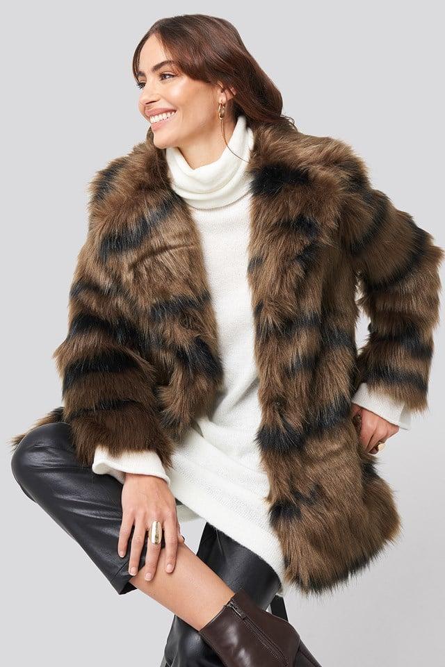 Cropped Sleeve Faux Fur Jacket Hannalicious x NA-KD