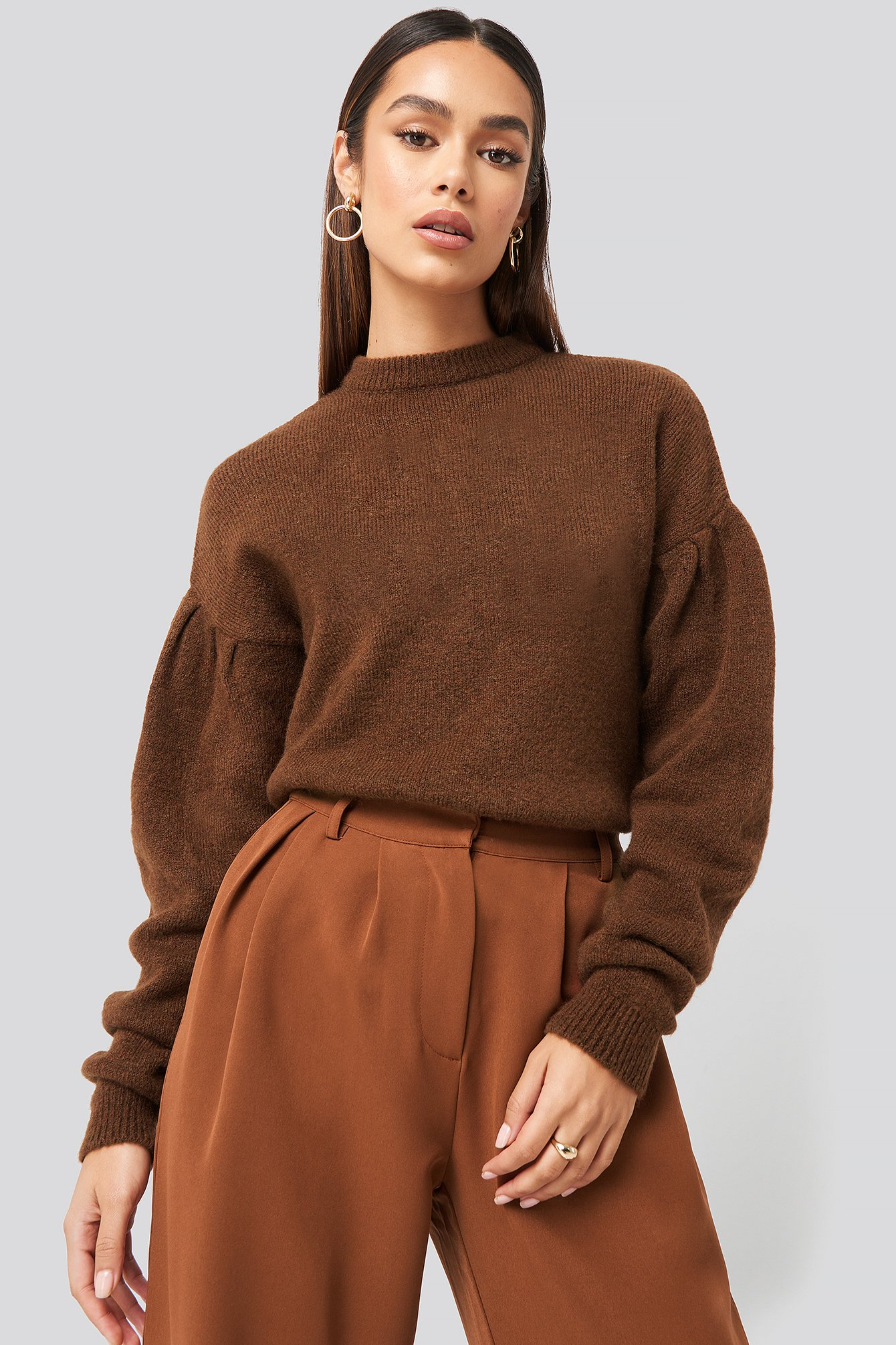hanna weig x na-kd -  Drop Shoulder Pullover - Brown
