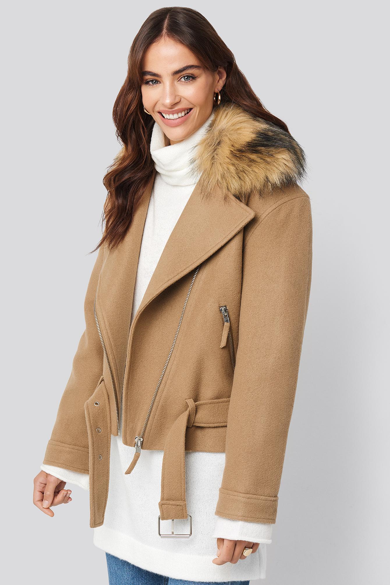 hannalicious x na-kd -  Faux Fur Collar Biker Jacket - Beige