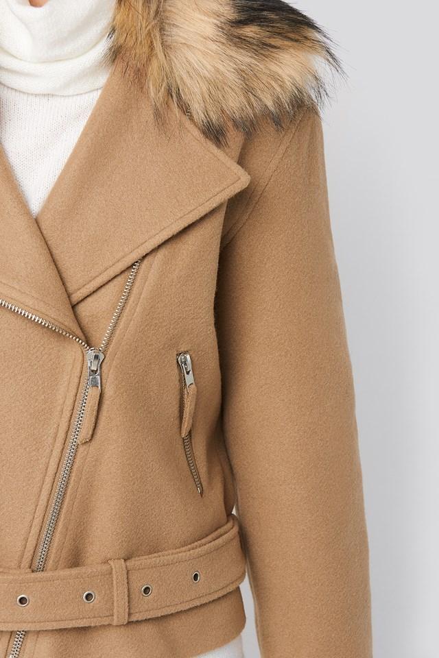 Faux Fur Collar Biker Jacket Beige